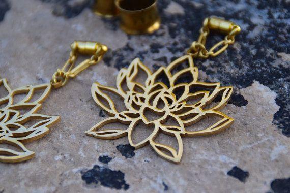 ON SALE Lotus Flower Magnetic Clasp Gauged Earrings   Sizes