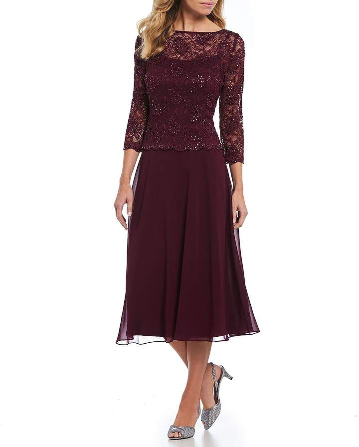 a1f568ee81ee Emma Street Sequined Lace Mock 2-Piece Tea-Length Dress #Sequined#Lace#Emma