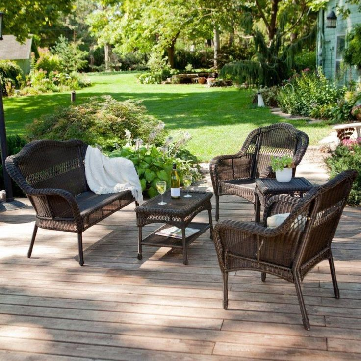 Outdoor Brown Conventional Varnished Wooden Conversation Set With Bir Also  Glass And Plant Besides White Ceramic. Cheap Patio SetsPatio Furniture ...