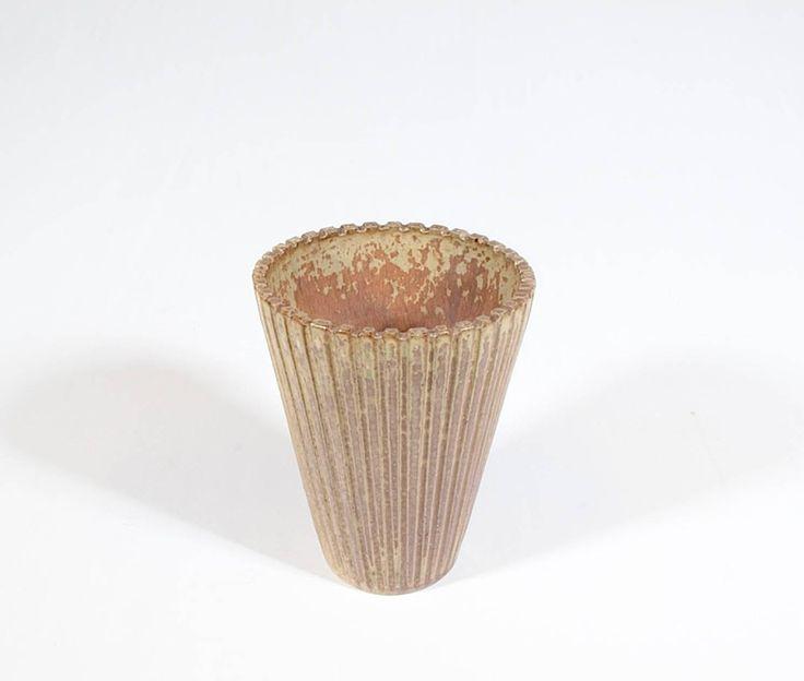 Scandinavian Vase by Arne Bang, Denmark Beige/light green hand glazed ceramic vase