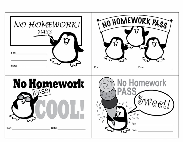 free printable homework passes