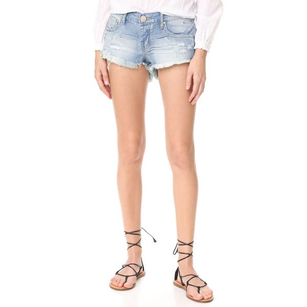 One Teaspoon Blue Jane Bonita Shorts ($115) ❤ liked on Polyvore featuring shorts, blue jane, oneteaspoon, frayed shorts, low rise shorts, polka dot shorts and dotted shorts