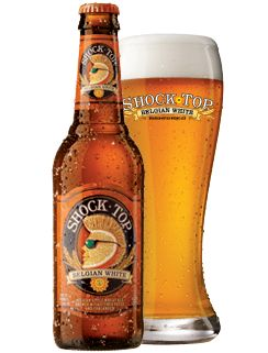 SHOCK TOP BELGIAN WHITE  We've shaken up traditional tastes by brewing a spiced Belgian-style wheat ale with real orange, lemon and lime peels,and then added a little coriander spice to the mix. This uniquely-crafted and award-winning ale is unfiltered to create a brew that is naturally cloudy with a light golden color and a smooth, refreshing finish.