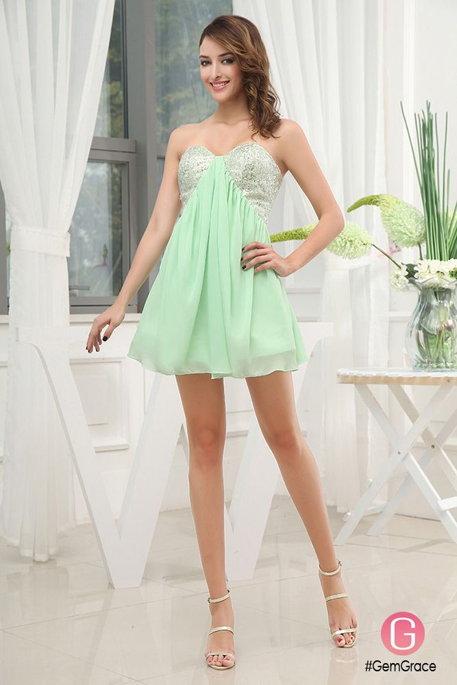 Mint green short sequined homecoming party dress for juniors
