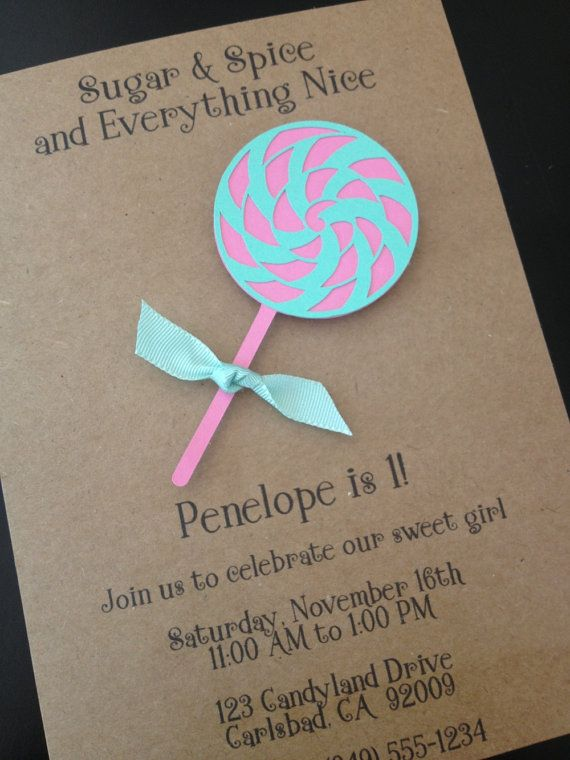 104 best 15eras images on pinterest baby dresses flower girls and lollipop candy shop invitation custom made for kids birthday party on kraft paper set of filmwisefo