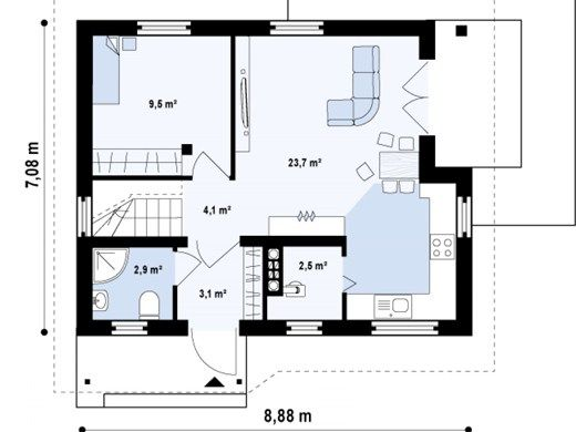proiecte de case cu mansarda sub 100 de metri patrati Attic houses under 100 square meters 3