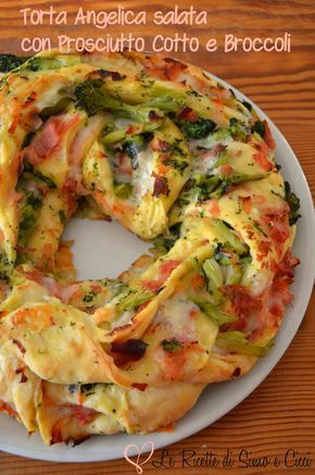 Torta Angelica salata con Prosciutto cotto e Broccoli