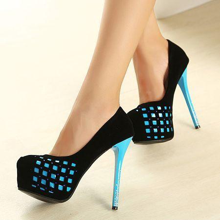 Fashion Round Closed Toe Stiletto High Heels Blue Suede Pumps. Black High Heels