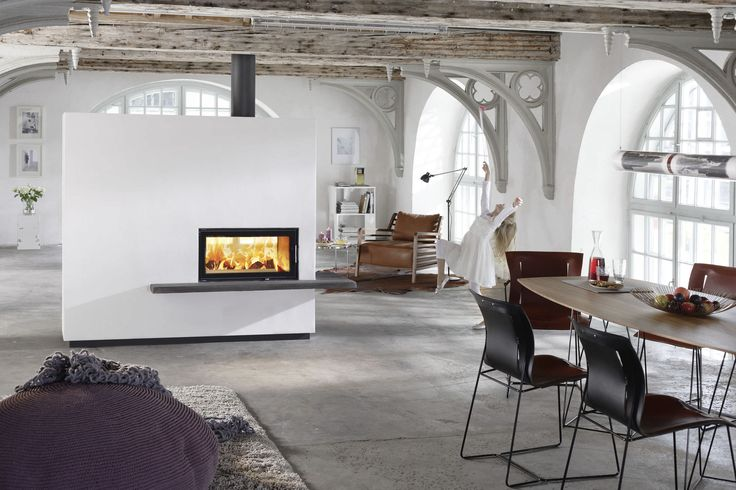 Ravishing White Wall Built In Double Sided Fireplace Insert With Electrical Gas Also Sweet Black Simple Chairs And Great Woods Long Dining Table On Grey Fur Rug And Grey Marble Flooring As Decorate Modern Family Rooms With Wooden Plafond Exposed Design Ideas
