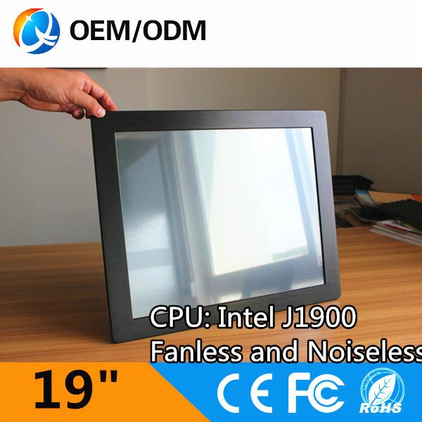 """Inter j1900 1.99GHz computer  19"""" fanless noiseless touch screen industry all in one pc 1280x1024 Installation embedded"""