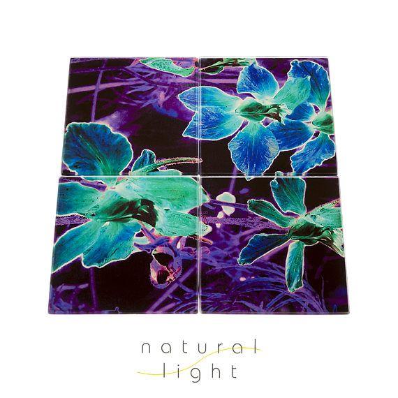 Glass Coasters, Midnight Garden Purple and Blue, House Warming Gift, Drinks Coasters, Boho Decor, Botanical, Coaster Set, Housewarming Gift