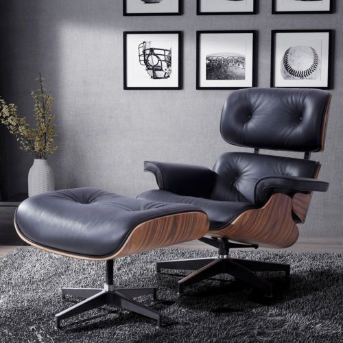 rosewood eames style lounge chair ottoman genuine 100 grain italian leather