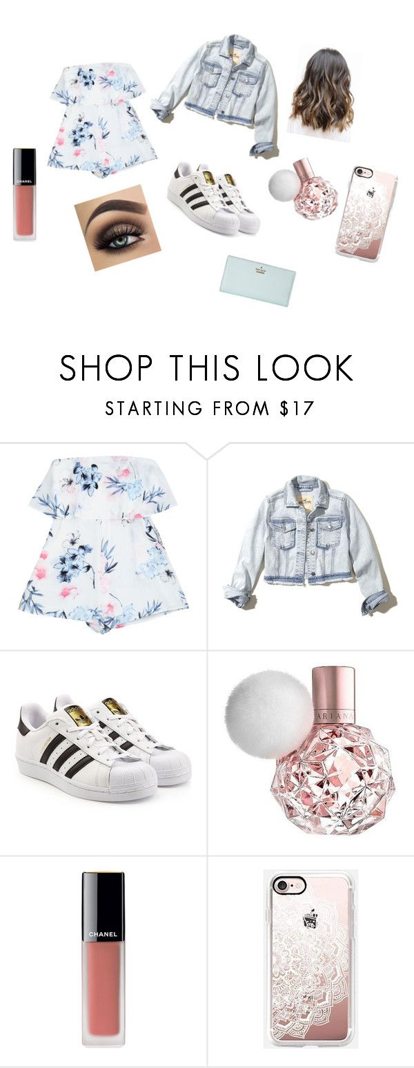"""Spring night out"" by maddy-lane235 on Polyvore featuring Hollister Co., adidas Originals, Chanel, Casetify and Kate Spade"