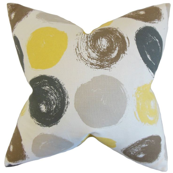 "Xenophon Geometric 24-inch Down Feather Throw Pillow Citrine (24"" x 24""), Yellow, Size 24 x 24"