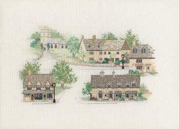 Cotswold Village Cross Stitch Kit from Derwentwater Designs