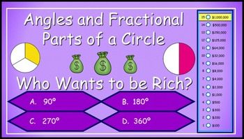 This game is a fun way to practice/reinforce fractional parts of a circle and angle measures within a circle.  This game is a great tool for test review/test prep.