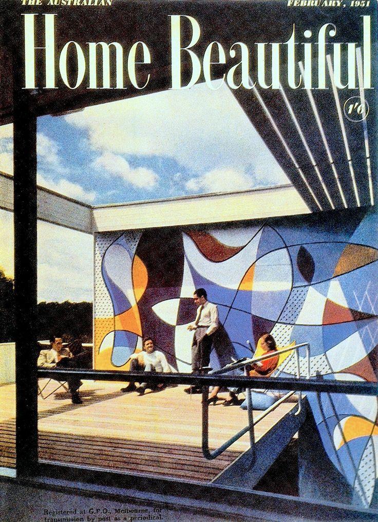 1950's Australian ROSE SEIDLER HOUSE by HARRY SEIDLER (built 1948-50) 1950's wall mural, 50's motif, 50's Art Moderne. Australian Home Beautiful February 1951 (visit minkshmink on pinterest)