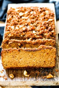 Coconut Flour Pumpkin Bread with Crumb Topping   A gluten free, dairy free and paleo pumpkin bread recipe that is made with maple syrup, coconut flour and fresh pumpkin puree! A yummy Fall and Winter dessert or breakfast recipe.