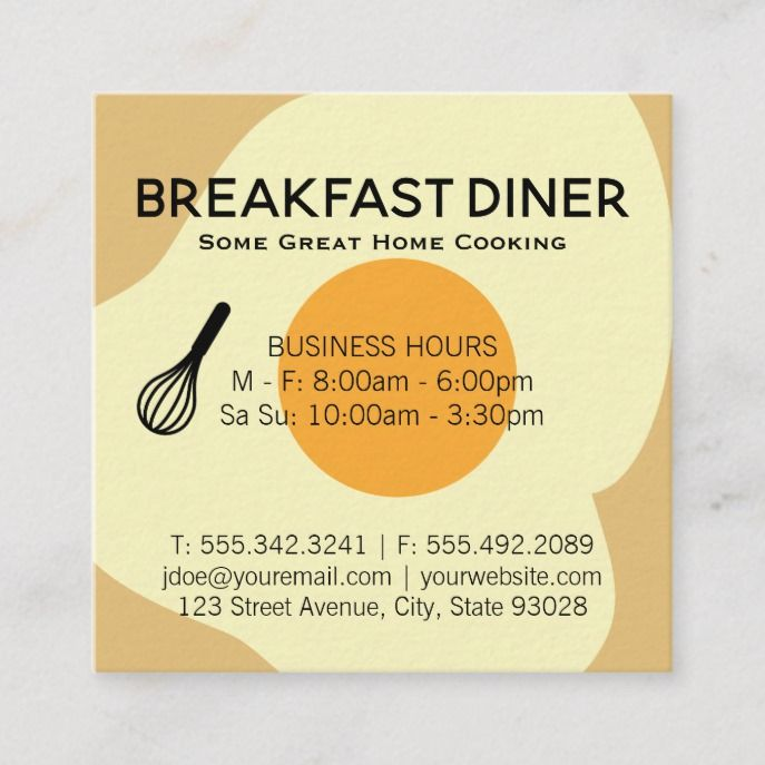 Whisk And Egg Breakfast Restaurant Square Business Card Custom