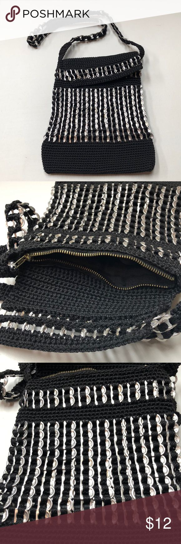 """Macrame & Soda / Beer Can Pop Tops Purse Unique find! Estimate 1990s.  Looks hardly used, if ever. Interior and exterior are clean and like new.  Measurements: 9"""" x 10"""". Strap 15"""". Vintage Bags Crossbody Bags"""