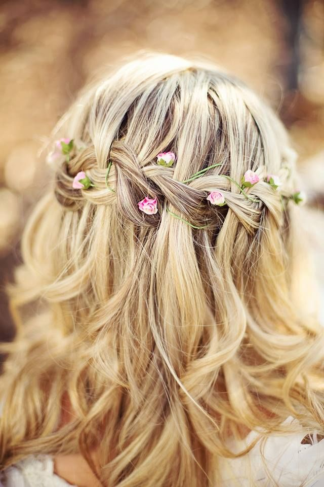 whimsical waterfall plait with flower detail www.lhprofessional.com