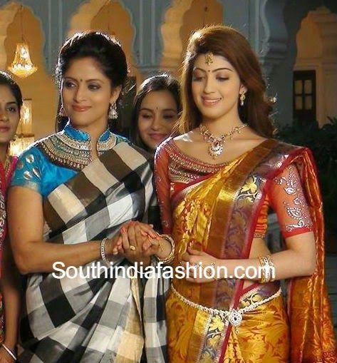 Silk Saree Blouse Patterns ~ Celebrity Sarees, Designer Sarees, Bridal Sarees, Latest Blouse Designs 2014