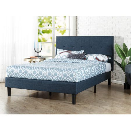 Zinus Omkaram Upholstered Navy Platform Bed Multiple Sizes