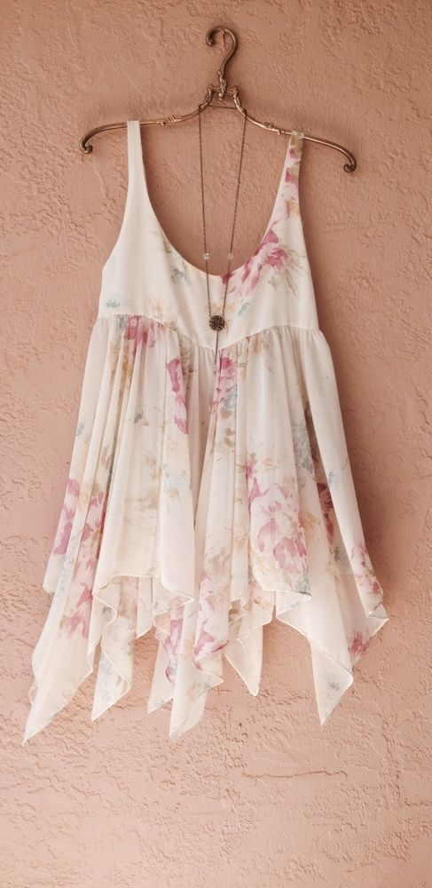 Vintage Roses floral swing trapeze silk tunic