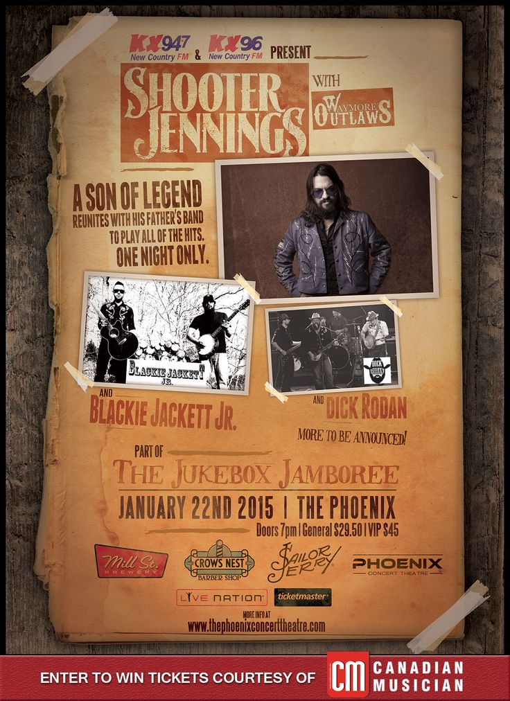 Enter to win a pair of VIP tickets to see #ShooterJennings live courtesy of #CanadianMuscian at The Phoenix Jan 22nd. Shooter (son of Waylon Jennings) will be reuniting with his father's original touring and recording band 'Waymore's Outlaws' to perform some of Waylon's greatest hits along with his own. Don't miss a legendary country music event. Doors 7pm, also features #BlackieJackettJr. and #DickRodan Enter Here....http://bit.ly/14B2XNm