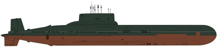 Line drawing showing the starboard side of the Project 941 (Akula) Soviet ballistic missile submarine. The vessel's waterline is marked in white. BFD