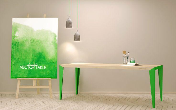 VECTOR table, stół na stalowych malowanych proszkowo nogach z możliwością rożnej kolorytyki. Blat z litego drewna.
