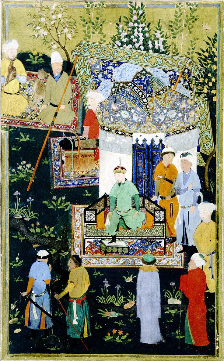Timur granting audience on the occasion of his accession - Attributed to Kamāl ud-Dīn Behzād - - Zafarnama, or Book of Victory, ca 1467