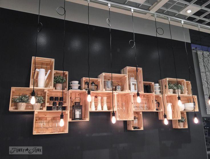 Ikea crate wall shelves on a black wall | funkyjunkinteriors.net