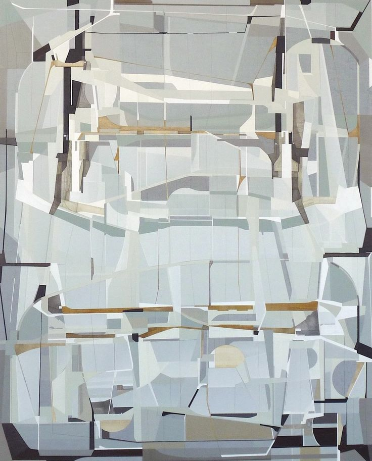 James Kennedy, Intarsia (2014), acrylic on incised masonite, 130 x 160 cm. Via 1stdibs.