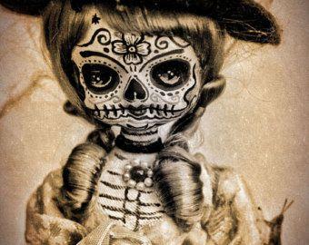 Mooie Mortal Blonde getatoeëerd Dia de Los Muertos suiker schedel Doll in Hat PRINT 348 door Michael Brown