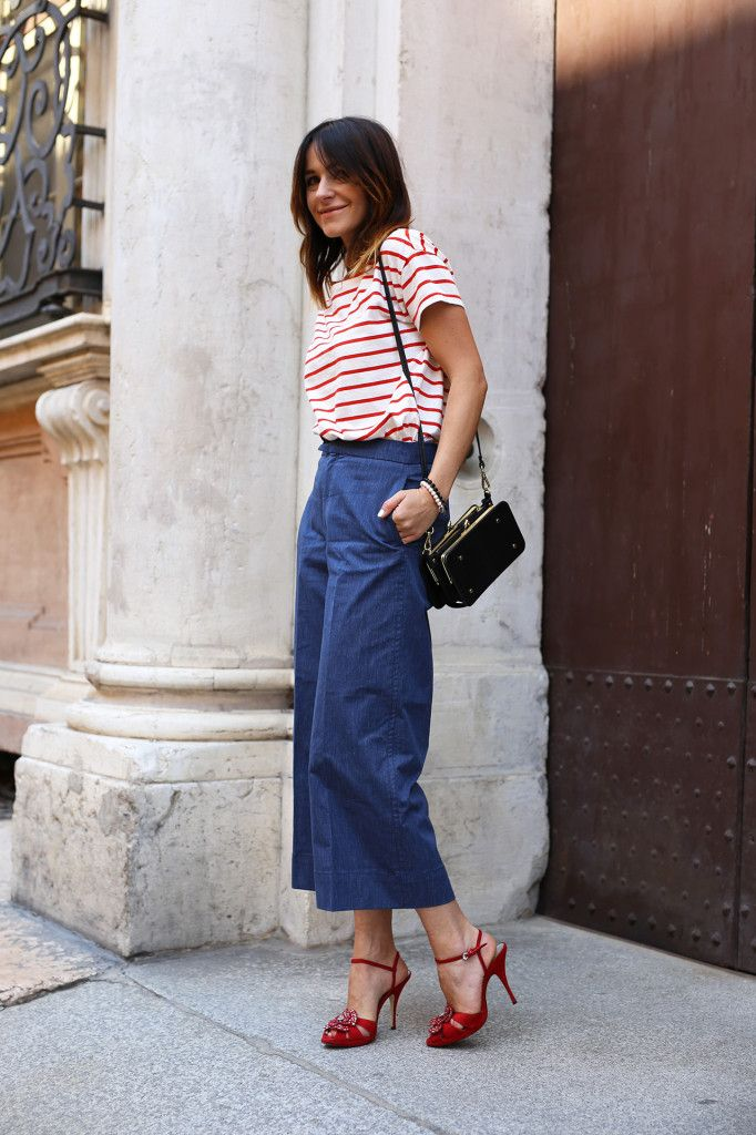 Silk Drops : Striped Tee & Denim Culottes stripedTeeBrunoMagliHeels