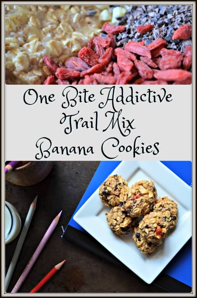 One Bite Addictive Trail Mix Banana Cookies -a high fiber & antioxidant-rich cookie, that's easy to make, chewy and moist.The perfect after school snack.