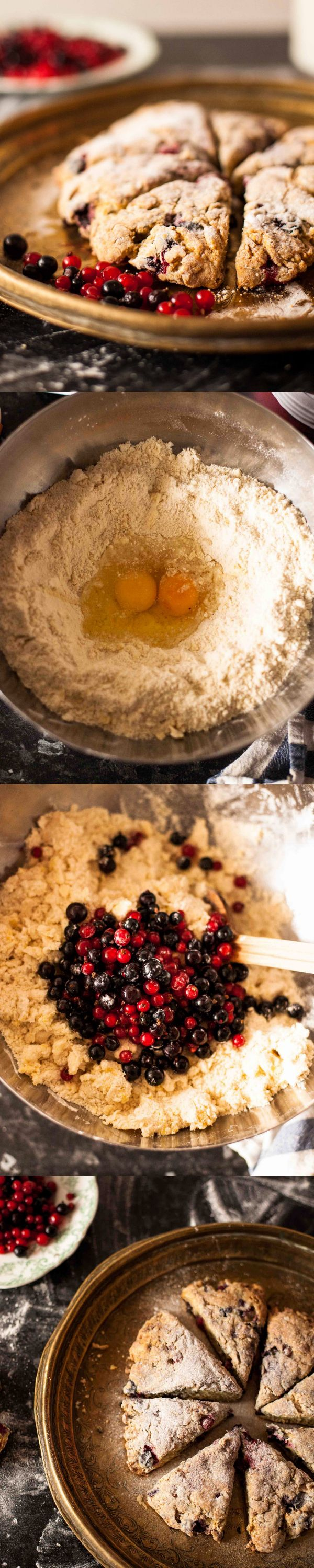 Crumbly Scones with Red and Black Currants