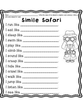 FREE Simile Safari Worksheets- great to use with the Animals Unit in science.