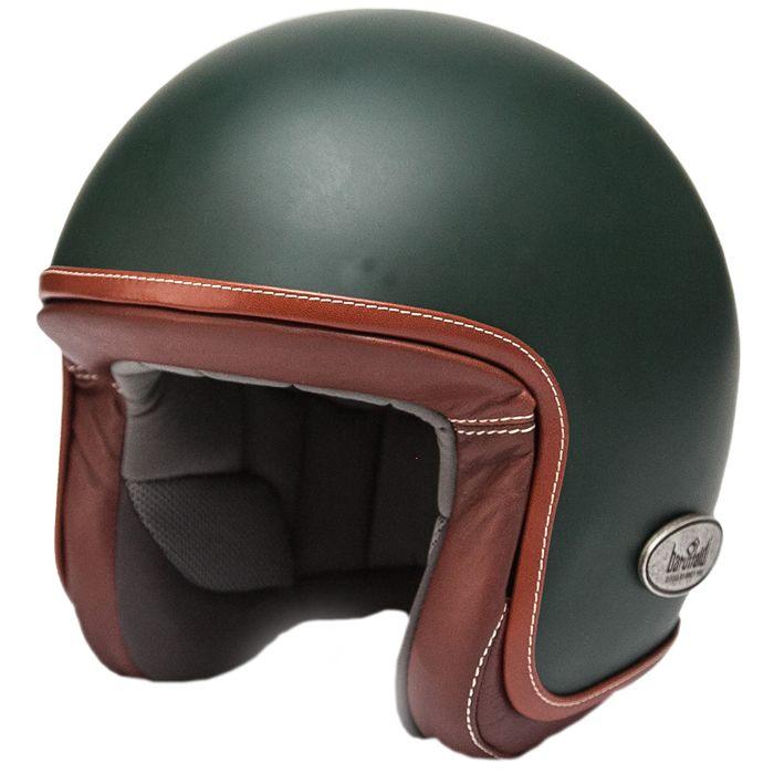 Zar Vintage Dark Green Baruffaldi Goggles Vintage Helmet Helmet Open Face Helmets