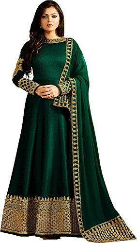 5b453e8d0158b Green Colour Latast Indian Designer Anarkali Dress Suit For Women And Girls  Party Wear Top Fabric   Banglory Silk Top Colour   Green Top Flair  - Top  Lenth ...