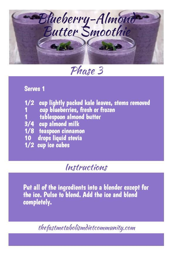 An antioxidant smoothie on Phase 3 of the Fast Metabolism Diet. Featuring Blueberry-Almond Smoothie. Enjoy!
