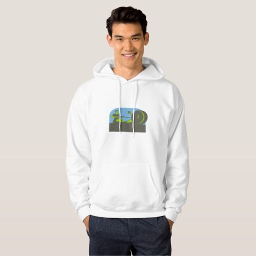 Rower Rowing Machine Half Circle Retro Hooded Sweatshirt. 2016 Rio Summer Olympics men's hooded sweatshirt showing an illustration of a rower exercising on a rowing machine viewed from front set inside a half circle done in retro style. #rowing #olympics #sports #summergames #rio2016 #olympics2016
