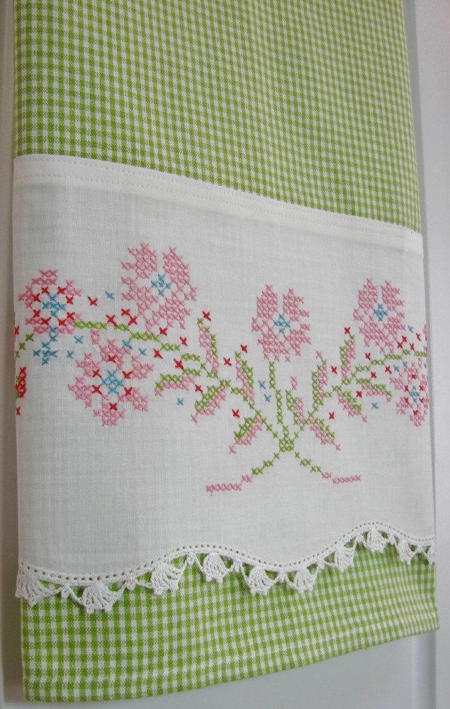 VIntage Pillowcase Recycled to Upcycled - Spring Garden - Homespun Home Decor. $22.00, via Etsy.