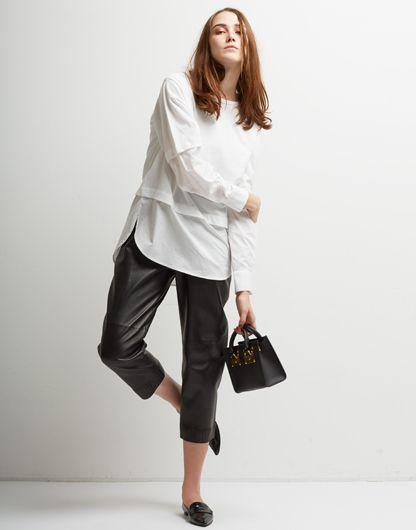 Le Ciel Bleu Polox Shirt Top, CS Bouded Leather Pants and Sophie Hulme bag