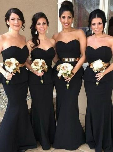 Sweetheart Black Mermaid Cheap Long Bridesmaid Dresses