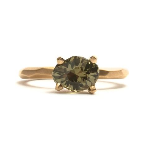 Freeform Green Yellow Queensland Sapphire Soul Ring by Krista McRae