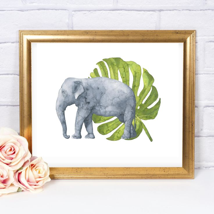 Jungle Elephant Printable Art, Instant Download, Elephant Decor, Jungle Printable, Tropical Jungle Party, Jungle Nursery, Jungle Kids Room by InkAnthology on Etsy