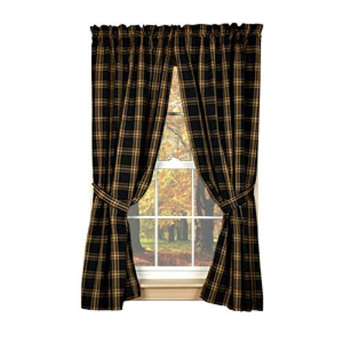 New Primitive Country Homespun Classic Tan Black Plaid Curtain Drapes Panels Primitives Plaid