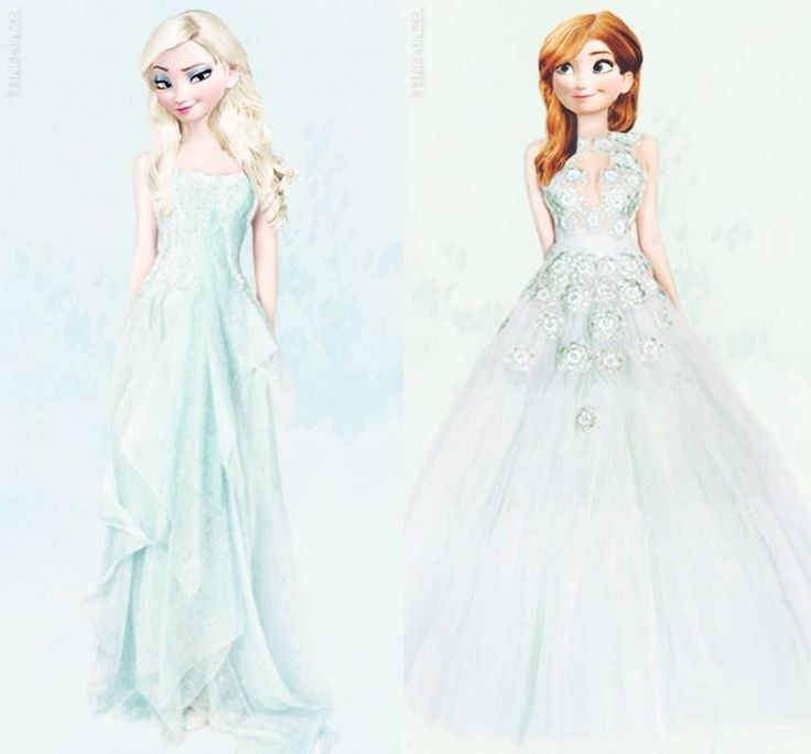 Anna and Elsa in ice dresses!! ♡